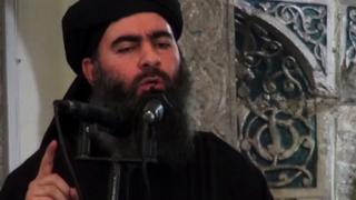 Abu Bakr al-Baghdadi. speaking in Mosul, 5 July 2014