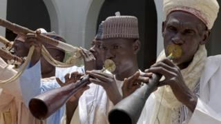 Musicians perform to welcome US Secretary of State John Kerry at the palace of the Sultan of Sokoto in Sokoto, Nigeria - Tuesday 23 August 2016