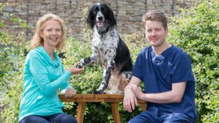 Eva with owner Fiona Kirkland and surgeon William Marshall