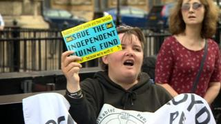 Disabled protester at Westminster
