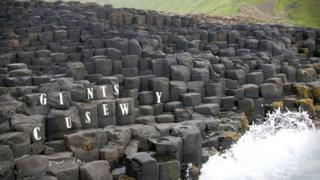 "Undated handout photo issued by NHS Blood and Transplant of the Giant""s Causeway missing the letters A, B and O, as the Missing Type campaign aims to encourage people to become blood donors"