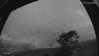 Webcam image from HVO Observation Tower of ash plume from this morning's explosive eruption at Kīlauea Volcano's summit