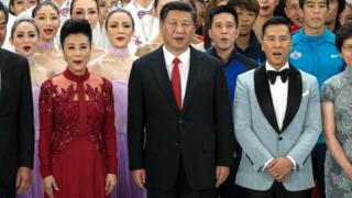 Chinese President Xi Jinping attends a grand variety show during a visit to Hong Kong