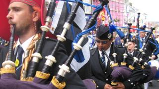 A pipe band in Penzance, Cornwall