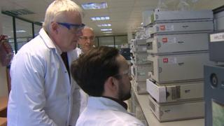 Carwyn Jones visiting a Deeside pharmaceutical firm