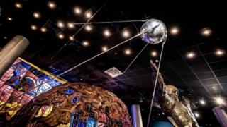 A replica of Sputnik in the Memorial Museum of Cosmonautics in Moscow