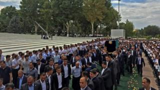 President Islam Karimov's coffin in Samarkand