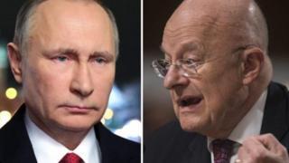 جیمز کلپر، مدیر سازمان اطلاعات ملی آمریکا (راست) و ولادمیر پوتین