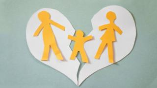 Paper cutouts showing family splitting up