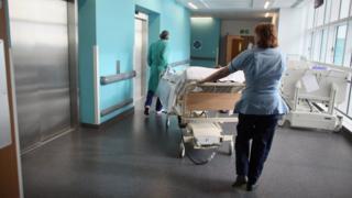 Hospital staff in a corridor