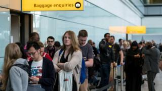 Passenger queues at Heathrow