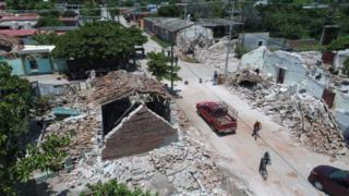 Aerial shot of damages housing reduced to rubble in Ixtaltepac, Oaxaca
