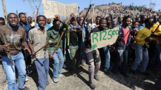South African miners protesting at low wages