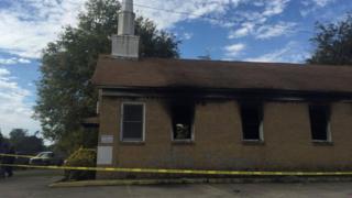 Баптистская церковь в Гринвилле после пожара