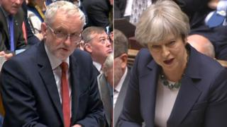 Jeremy Corbyn as well as also Theresa May composite image