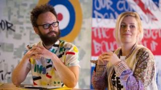 Alex Beckett with Sara Pascoe