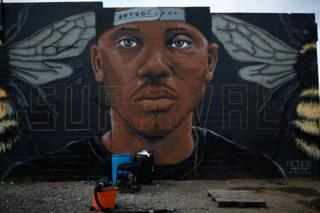 A mural of Freddie Gray in Baltimore, 10 August