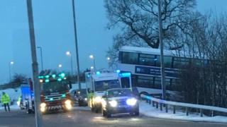 Bus off road at Stepps, North Lanarkshire