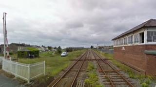 The level crossing at Pembrey and Burry Port station
