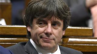 Carles Puigdemont during a session of the Catalan parliament (file photo)