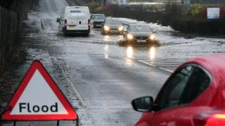 Flooding on the A921 in Fife