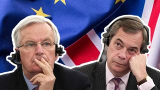 A composite illustration shows Michel Barnier in addition to Nigel Farage, taken through separate photos, in front of the EU in addition to UK flags.
