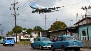 Air Force One ikiingia Cuba mnamo Machi 20 mwaka 2016