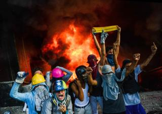 Manifestación en el centro de Caracas