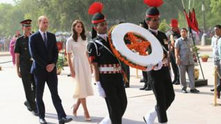 The Duke and Duchess of Cambridge at a ceremony in India