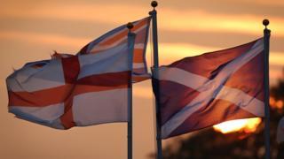 English, Scottish and Union flags