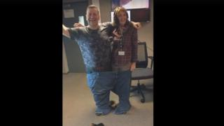 Tom and Kaye both fit into his old pair of jeans