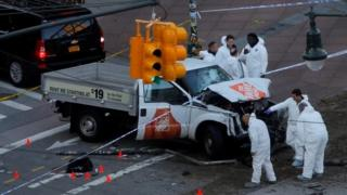 New York police investigate a vehicle allegedly used in the attack