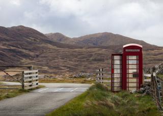 Red phone box on Barra