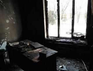 Fire damage at Memorial offices in Nazran in the southern Russian republic of Ingushetia.