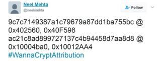 Encrypted tweet message from Neel Mehta