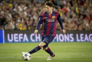 Messi playing for Barcelona