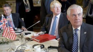 "U.S. Secretary of State Rex Tillerson, Britain""s Foreign Secretary Boris Johnson, and German Foreign Minister Sigmar Gabrie"