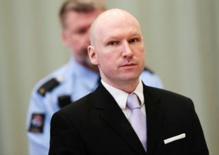 Norwegian mass killer Anders Behring Breivik pictured at court on 18 March, 2016