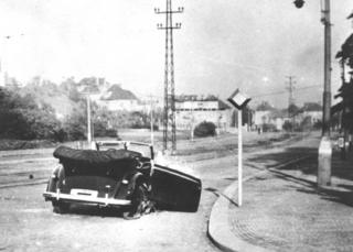 Heydrich's wrecked Mercedes after ambush in 1942 (pic: courtesy of Jaroslav Cvancara)