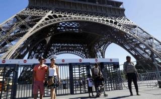 Security gates at the Eiffel Tower, Paris. 24 August 2016