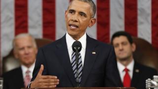 一般教書演説を行うオバマ米大統領(12日)