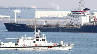 Panama-flagged ship suspected of transferring oil products to North Korea in violation of sanctions, in the sea off Pyeongtaek, South Korea, 1 January 2018