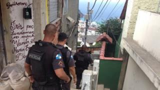Police patrol in Babilonia favela
