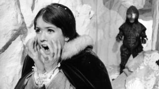 Deborah Watling with an Ice Warrior in a 1967 episode of Doctor Who