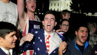 Сторонники Дональда Трампа празднуют его победу в Вашингтоне