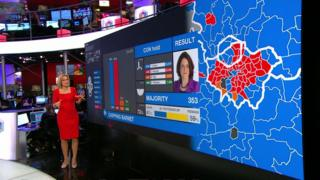 Emily Maitlis at the BBC election results screen