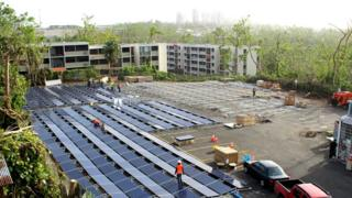 Solar panels outside a hospital in Puerto Rico