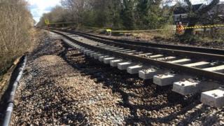 Tracks affected by landslip