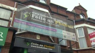 A unsigned leaflet has criticised Féile an Phobail for PSNI involvement in festival events