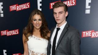 Elizabeth Hurley and her nephew, Miles Hurley